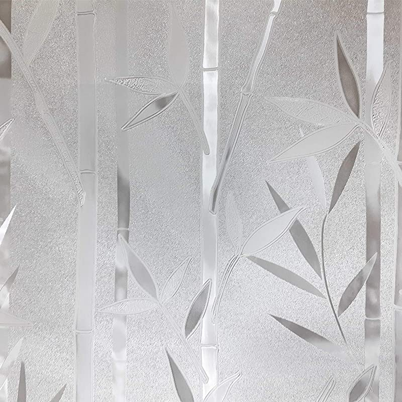 Bamboo Pattern Window Film Privacy No Residue Peel And Stick Indoor Outdoor Decorative Home Bathroom Shower Living Room Business Office Meeting Room Glass Door Film Decoration 3 17 71 X 120