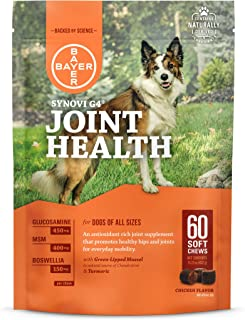 Bayer Synovi G4 Soft chews for Dogs, Joint Supplement, Glucosamine, Turmeric, Boswelllia serrata, Creatine with Naturally Derived Ingredients for dogs of all ages, sizes and breeds