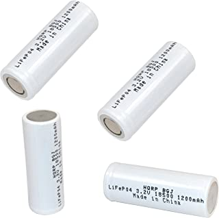 HQRP Battery 4-Pack 1200mAh IFR-18500 18500 3.2v LiFePO4 Lithium Phosphate for Solar Garden Landscape Patio Light Spotlight Rechargeable + HQRP Coaster - coolthings.us