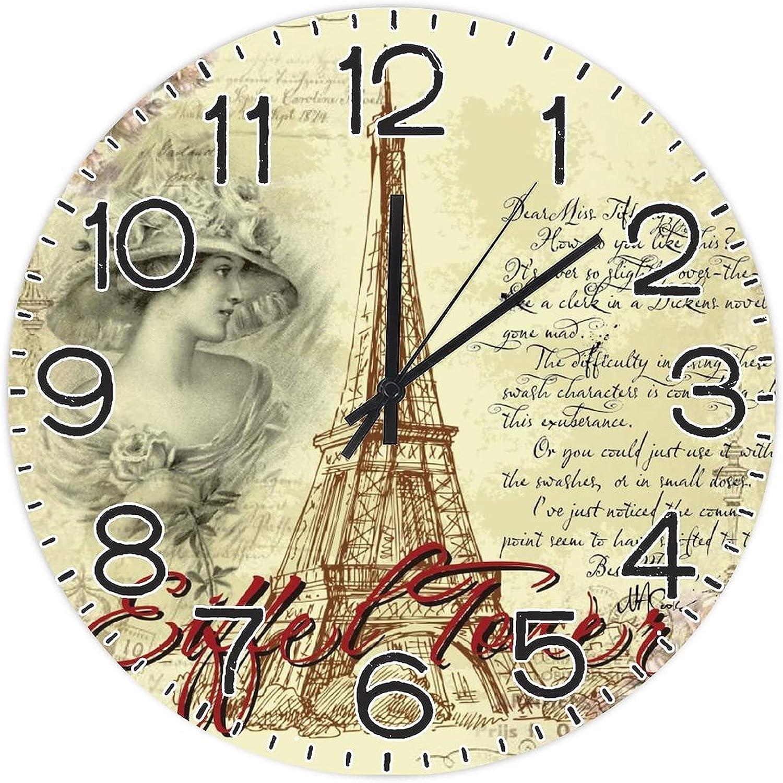 Anyuwerw Eiffel Max 71% OFF Tower in Paris Wood 12 Inch Washington Mall Wall Clock No Silent