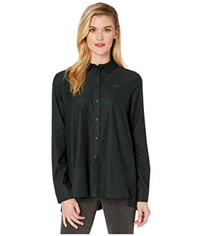 Lacoste Loose Fit Pleated Back Flannel Shirt (Sinople) Women