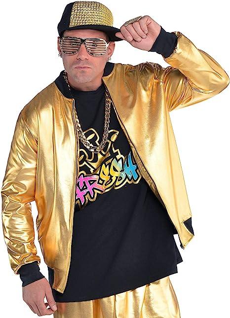 50 Men's Vintage Halloween Costume Ideas AMSCAN Gold Hip Hop Track Jacket Halloween Costume Accessories for Men One Size  AT vintagedancer.com