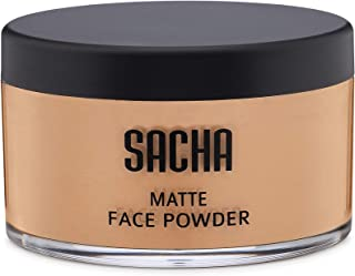 Loose Face Powder by Sacha Cosmetics, Best Matte Finishing Powder for use alone or Setting your Makeup Foundation to give a Flawless Beautiful Finish, for All Skin Types, 1.25 oz, Perfect Tan