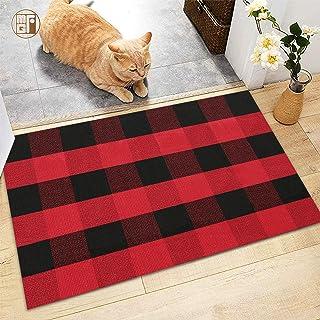 "McGuffey Cotton-Buffalo Plaid Check Rug Door Mat-36"" x 24"" Black/Red Checkered Hand-Outdoor/Indoor/Entry Way/Kitchen"