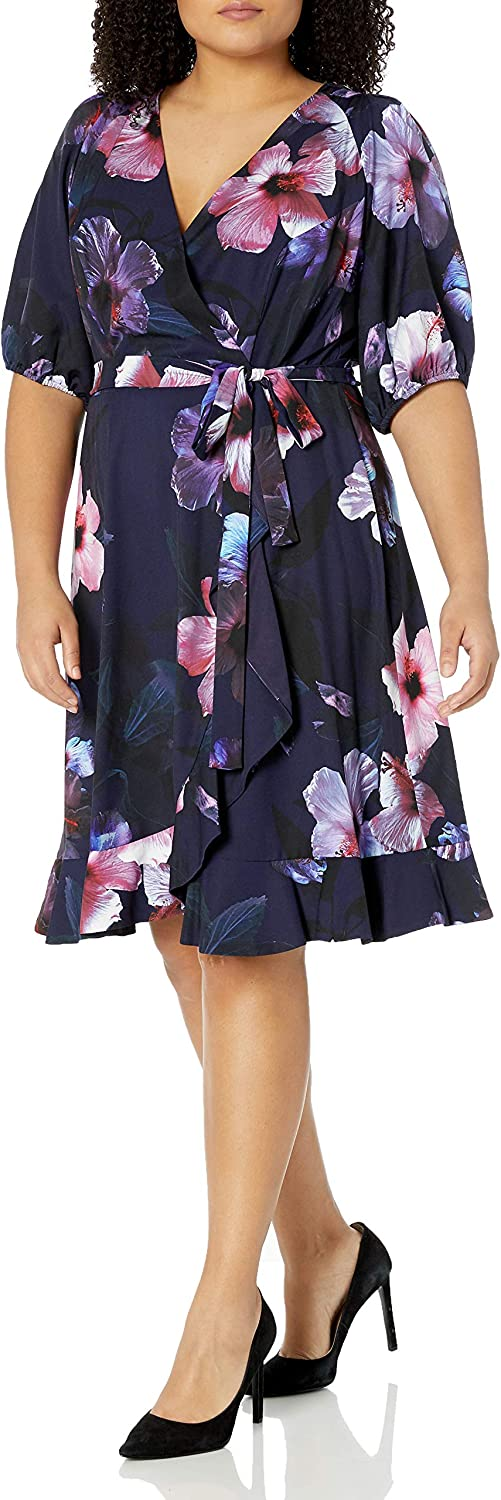 Adrianna Papell Women's Floral Wrap Popularity Dress Hem Ruffle At the price of surprise with