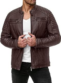 Men's Classic Pu Leather Motorcycle Jacket Biker Jacket Zipper Coat