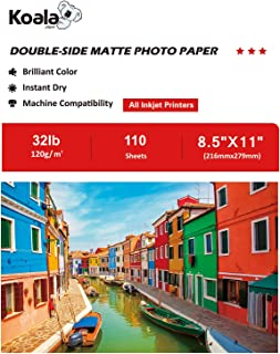 Koala Photo Paper 8.5x11 Inches Double Sided Matte 110 Sheets 120gsm Compatible with All Inkjet Printer