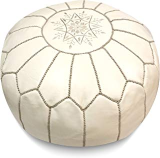 """Mina Stuffed Moroccan Leather Pouf Ottoman, Many Colors Available, 20"""" Diameter and 13"""" Height (White with Grey Stitches)"""