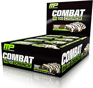 MusclePharm Combat Crunch Protein Bar, Multi-Layered Baked Bar, Gluten-Free Bars, 20 g Protein, Low-Sugar, Low-Carb, Gluten-Free, Chocolate Coconut Bars, 12 Count