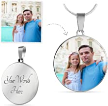 P.S. I Love Italy Customized Personalized Photo Silver Circle Necklace with Engraving Option - Put Your Favorite Picture on This Jewelry with Your Engraved Custom Message as a Special & Unique Gift