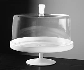 Barski - Euorpean Quality Glass - Large 2 Pc Set Footed Glass - Opal (white) Cake Stand with Large Clear Cake Dome - with Opal (white) Knob - 12.4