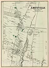 Historic Pictoric Map : Amityville in Huntington. Long Island, 1873, Vintage Wall Decor : 44in x 61in