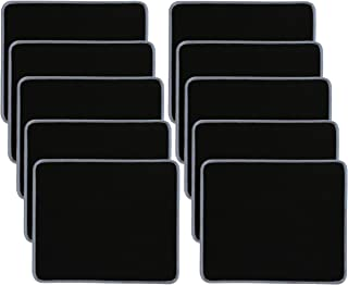 10 Pack Mouse Pad, Water Resistance Coating Natural Rubber Gaming Mouse Pad with Stitched Edges & Non-Slippery Rubber Base -(250 x 210 x 2mm) - Black with Grey Border
