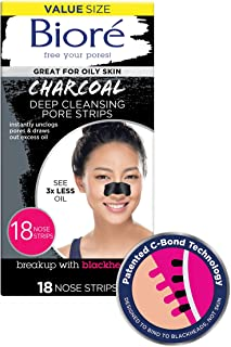 Bioré Charcoal, Deep Cleansing 18 Nose Strips for Blackhead Removal on Oily Skin, with Instant Pore Unclogging, features Natural Charcoal, 3x