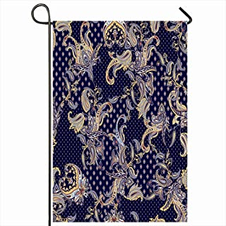 Ahawoso Outdoor Garden Flags 12x18 Inch Ethnic Pattern Luxury Paisley Multicolor Scarf Floral Abstract Carpet Arabesque Design Vertical Double Sided Home Decorative House Yard Sign