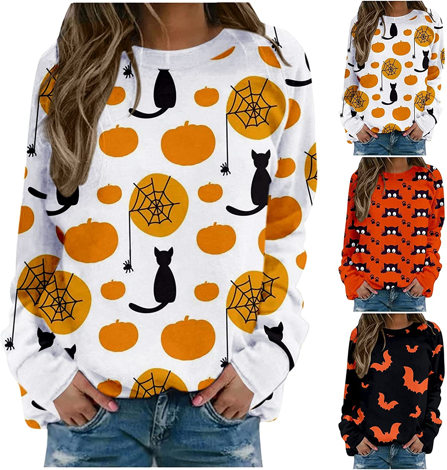 nunonette Sweatshirts for Women Crewneck Pullover Halloween Pattern Long Sleeve Tops Blouse Casual Loose Style Sweater