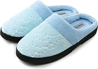 KOMYUFA Women's Soft House Cotton Slippers Washable Flat Closed Toe Lightweight Indoor Outdoor Shoes(Blue)