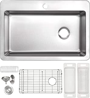 ZUHNE 16G Drop In Offset Drain Stainless Steel Kitchen Sink (33 x 22 Inch Single Over Mount)