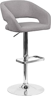 Flash Furniture Contemporary Gray Fabric Adjustable Height Barstool with Rounded Mid-Back and Chrome Base -