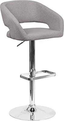 Image Result For Flash Furniture Contemporary Rounded Back Fabric Adjustable Barstool With Chrome Base