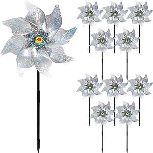Ratar 12 Pieces Bird Scare Pinwheels, Holographic Pinwheel Bird Scaring Pinwheels Mylar Reflection Spinners Garden Spinners for Yard and Garden (Silver)