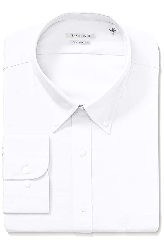 Van Heusen Men's Dress Shirt Regular Fit Pinpoint Solid