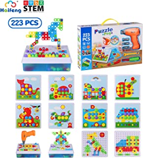 223 Piece Drill Activity Center Stem Learning with Toy Drill Mosaic Puzzles Educational Construction Engineering Building Blocks Learning Set Best Kids Toys for Boys & Girls Age 3 - 14 Year Olds