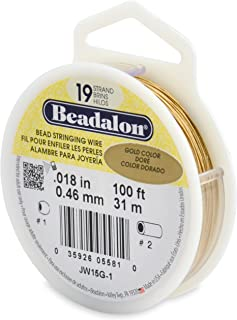 Beadalon 19-Strand Bead Stringing Wire, 0.018-Inch, Gold Color, 100-Feet