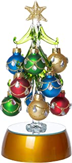 Mini Light Up Glass Christmas Tree, Small Table Top Holiday Season Décor with Removable Sphere Ornaments, Jewels & Gold Striped, 6 Inches