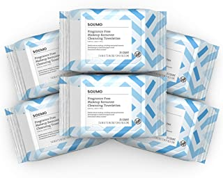Solimo Make Up Remover Wipes, Fragrance Free, 25ct (Pack of 6)