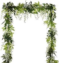 4Pcs 6.6Ft/Piece Artificial Flowers Silk Wisteria Garland Artificial Wisteria Vine Rattan Silk Hanging Flower for Home Gar...
