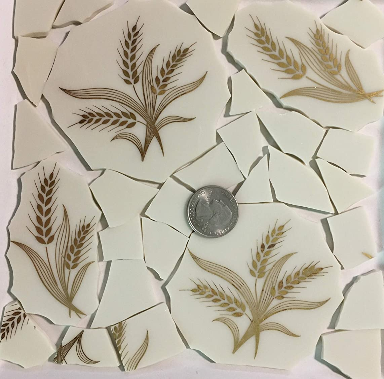 Mosaic Art & Crafts Supply ~ Metallic Gold Wheat Design Cream White China Tiles (B888)