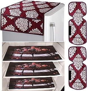 Kuber Industries Flower Design Combo PVC 3 Pieces Fridge Mats, 2 Piece Handle Cover and 1 Piece Fridge Top Cover (Maroon)