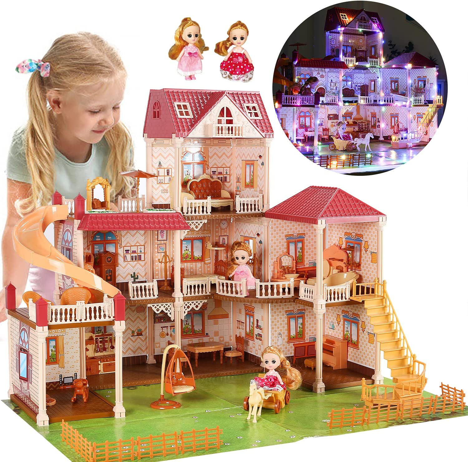 CUTE STONE 8 Rooms Huge Special Cheap price Dollhouse 2 Dolls with Ligh and Colorful