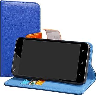 LiuShan Wiko Jerry/Wiko K-KOOL Funda, PU Cuero Book Style Billetera Cartera Monedero con Soporte Funda Caso para Wiko Jerry/Wiko K-KOOL Smartphone(con 4 en 1 Regalo empaquetado),Azul