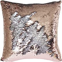 TRLYC Rose Gold and Silver 16 by 16inch Reversible Mermaid Sequin Pillow Case for Single Party