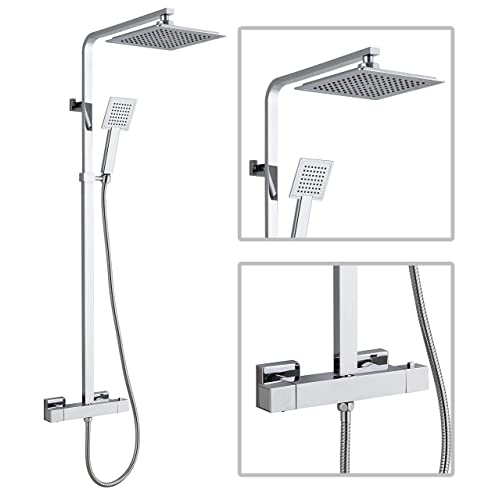 Premium Square Thermostatic Dual Control Overhead Rain Shower Bar Valve Mixer Kit Chrome With Easy Fit Kit TMV2 & WRAS Approved