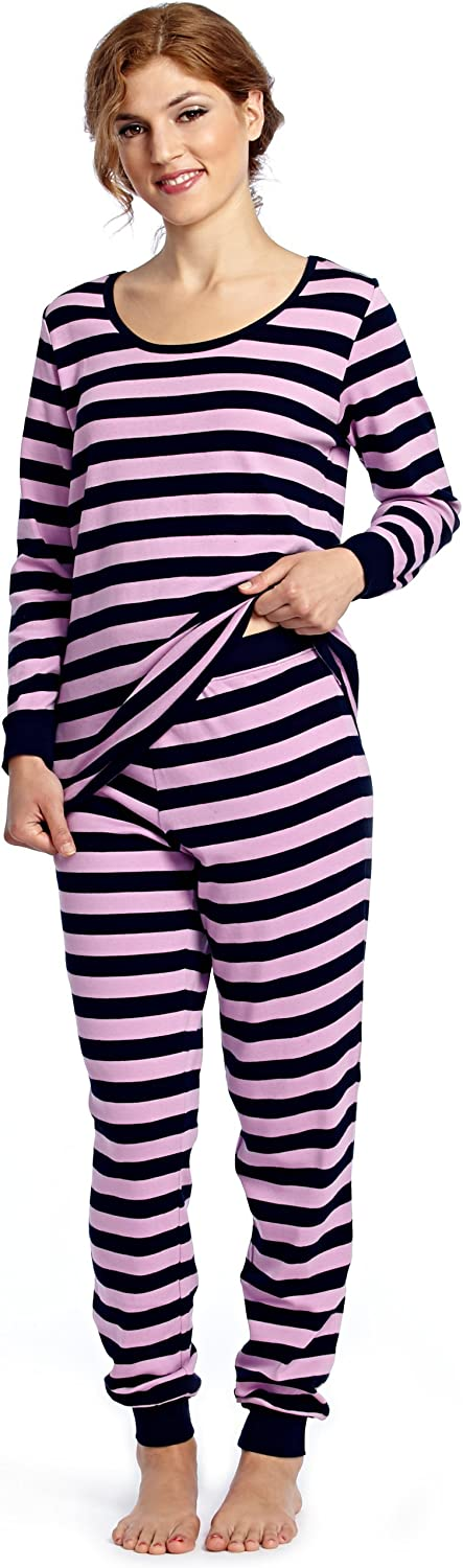 Leveret Women's  Fitted Striped  Pajama 100% Cotton (XSXL) (XSmall, Purple & Navy)