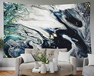 Capsceoll Father Gift Wall Hanging Tapestry, Large 80x60 Inches Size of Tapestries by deep Dark oceanART Natural Gray Color Metallic Silver Steel Iron Swirls of Dorm Décor Tapestry for Living Home
