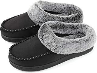 ULTRAIDEAS Womens Cozy Memory Foam Moccasin Suede Slippers with Fuzzy Plush Faux Fur Lining, Ladies