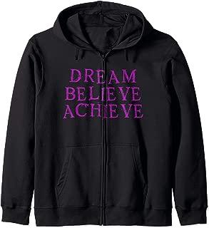 Dream Believe Achieve Motivational Workout Goal Zip Hoodie