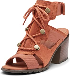 Sorel - Women's Nadia Lace, Suede Open-Toe Shoe with Laces and Block Heel