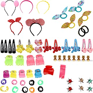 NAKAS Baby Hair Band; Mix Style Tic Tac; Hair Clips; Pin; Elastics Ponytail Holder Hair Accessories for Girls; 60 Pieces/S...
