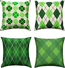 Chuangdi 4 Pieces St. Patrick's Day Pillow Case Irish Shamrock Cushion Cover with Zipper for St. Patrick's Party Home Decor, 18 x 18 Inch (Color Set 2)