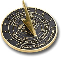 The Metal Foundry 50th Golden Wedding Anniversary 2019 Sundial Gift Idea is A Great Present for Him, for Her Or for A Couple to Celebrate 50 Years of Marriage