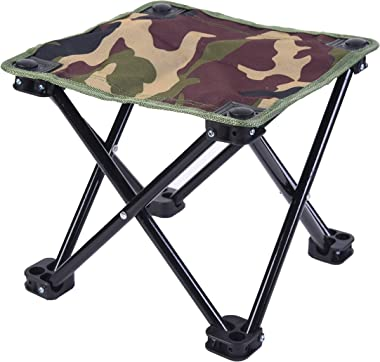 Lightweight Army Camouflage Folding Camp Stool | Camping Ottoman Fold Up Stool Backpacking Stool Foot Rest Cliq Chair Hiking