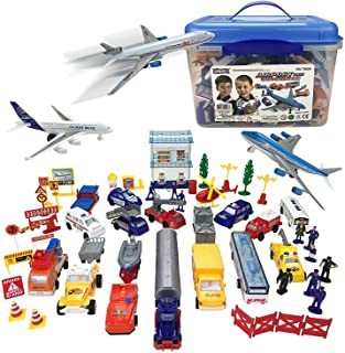 Airport PlaySet - 57 Piece Kids Playset in Storage Bucket with Toy Airplanes, Vehicles, Police Figures, Workers, and Many ...