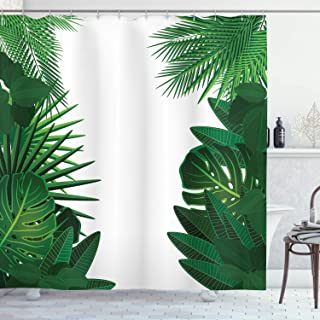 Ambesonne Leaf Shower Curtain, Exotic Fantasy Hawaiian Tropical Palm Leaves with Floral Graphic Artwork Print, Cloth Fabric Bathroom Decor Set with Hooks, 75