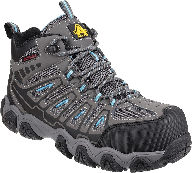 Amblers Safety Womens AS802 Waterproof Non-Metal Ladies Safety Hiker Grey Size UK 7 EU 41