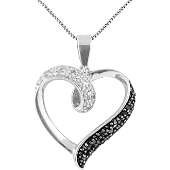 """JewelExclusive Sterling Silver 1/4cttw Black and White Natural Round-Cut Diamond (J-K Color, I2-I3 Clarity) Heart Pendant-Necklace, 18"""""""